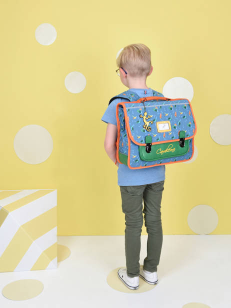 Satchel For Kids 2 Compartments Cameleon Blue retro CA35 other view 2