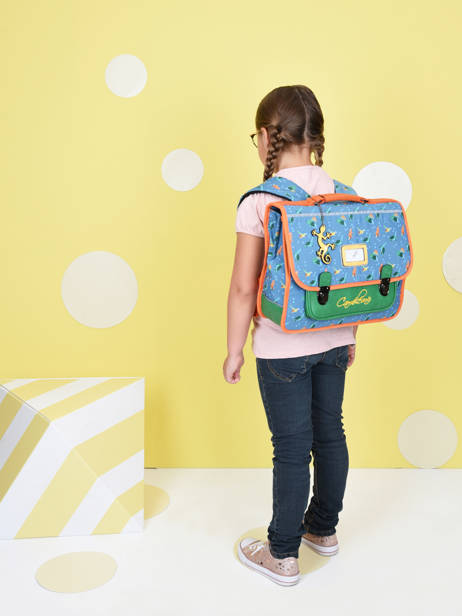 Satchel For Kids 2 Compartments Cameleon Blue retro CA35 other view 3