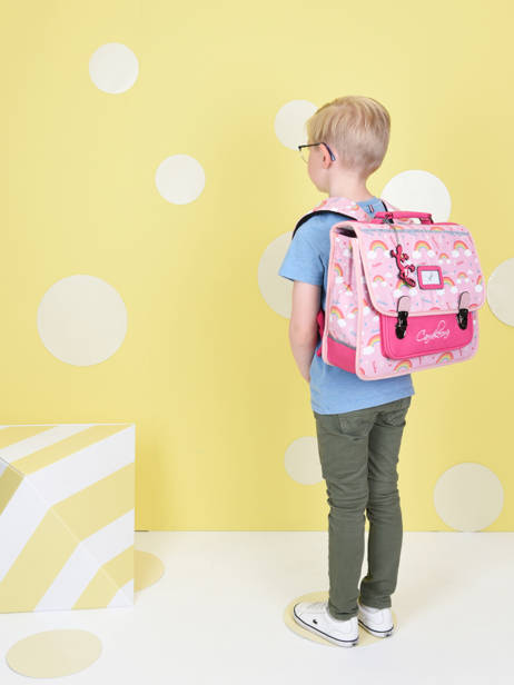 Satchel For Kids 2 Compartments Cameleon Pink retro CA35 other view 3