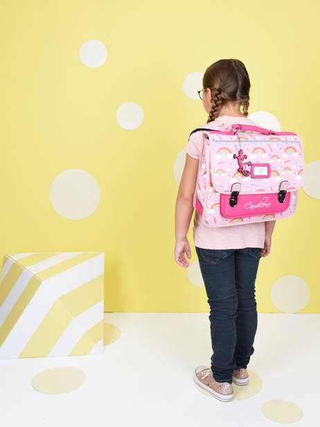 Satchel For Kids 2 Compartments Cameleon Pink retro CA35 other view 2