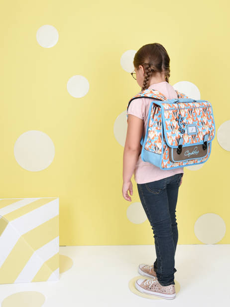 Satchel For Kids 2 Compartments Cameleon Multicolor retro CA35 other view 3