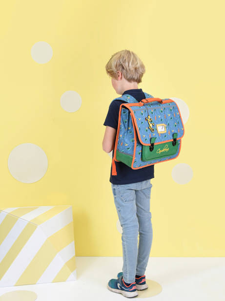 Satchel For Kids 2 Compartments Cameleon Blue retro CA38 other view 2