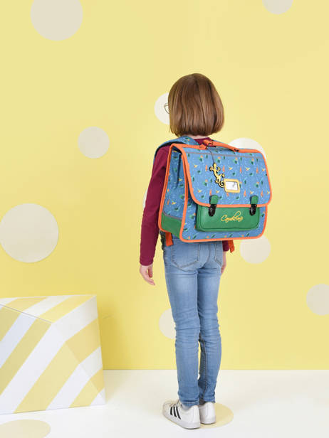Satchel For Kids 2 Compartments Cameleon Blue retro CA38 other view 3