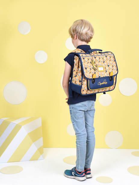 Satchel For Kids 2 Compartments Cameleon Yellow retro CA38 other view 2