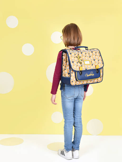 Satchel For Kids 2 Compartments Cameleon Yellow retro CA38 other view 3