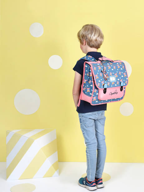 Satchel For Kids 2 Compartments Cameleon Black retro CA38 other view 3