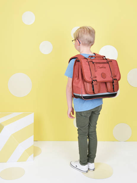 Satchel 2 Compartments Cameleon Red vintage color - VIC-CA35 other view 1