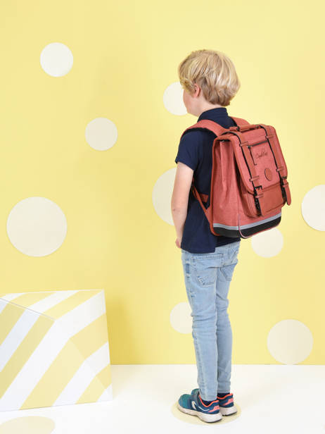 Backpack 2 Compartments Cameleon Red vintage color VIC-SD38 other view 1