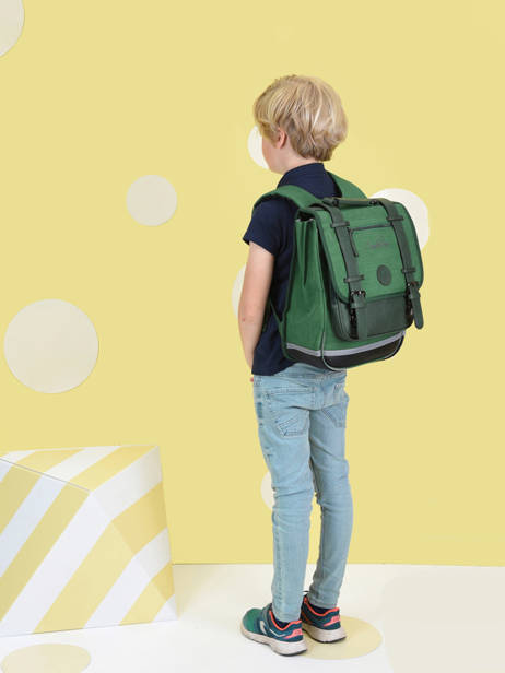 Backpack 2 Compartments Cameleon Green vintage color VIC-SD38 other view 2