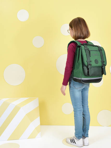 Backpack 2 Compartments Cameleon Green vintage color VIC-SD38 other view 1