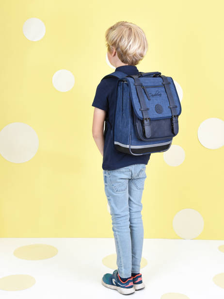 Backpack 2 Compartments Cameleon Blue vintage color VIC-SD38 other view 1