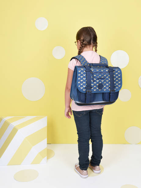Satchel For Girls 2 Compartments Cameleon Blue vintage fantasy CA35 other view 2