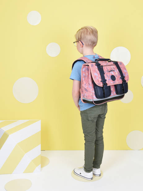 Satchel For Girls 2 Compartments Cameleon Pink vintage fantasy CA35 other view 3