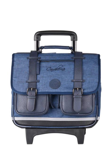 Wheeled Schoolbag 3 Compartments Cameleon Blue vintage color CR38