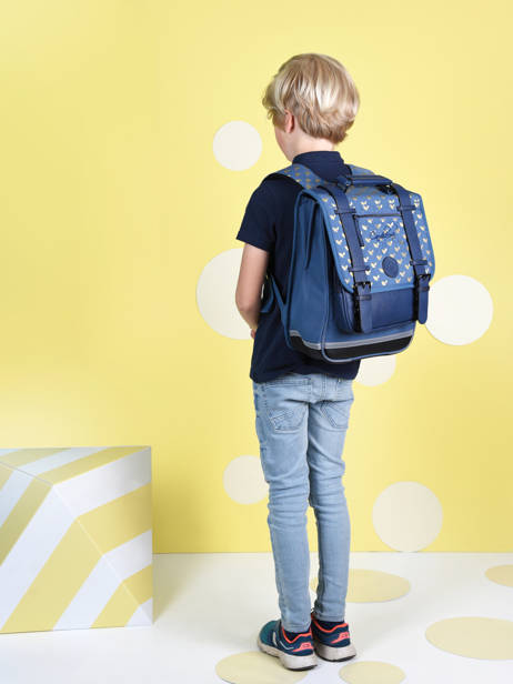 Backpack For Girls 2 Compartments Cameleon Blue vintage fantasy SD38 other view 2