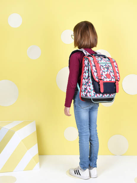 Backpack For Girls 2 Compartments Cameleon Multicolor vintage fantasy SD38 other view 1