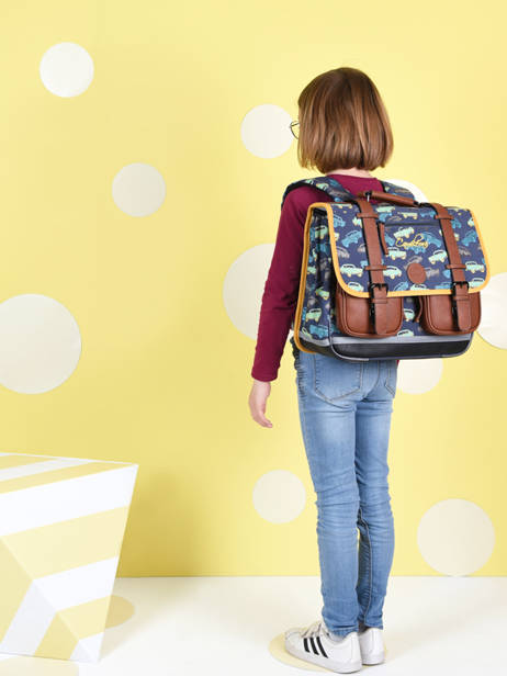 Satchel For Boys 2 Compartments Cameleon Multicolor vintage urban CA38 other view 3