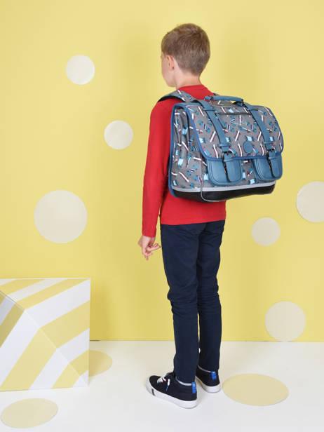 Cartable Enfant 3 Compartiments Cameleon Gris vintage urban CA41 vue secondaire 1