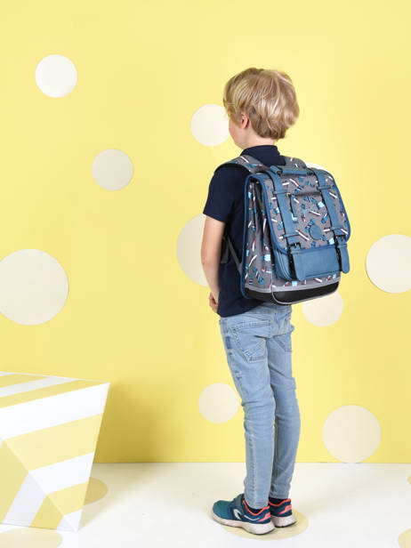 Backpack For Boys 2 Compartments Cameleon Gray vintage urban SD38 other view 2