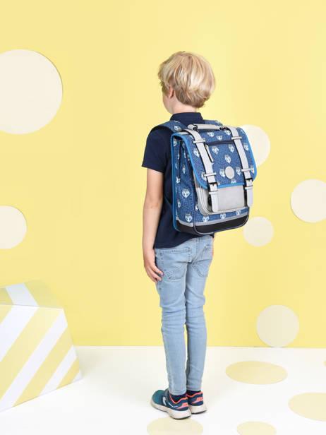 Sac à Dos Enfant 2 Compartiments Cameleon Bleu vintage urban SD38 vue secondaire 2