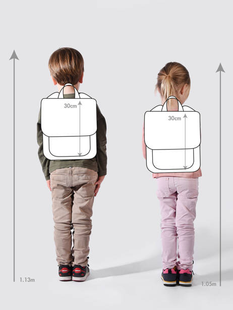 Backpack For Kids 2 Compartments Cameleon Blue retro REV-SD31 other view 1