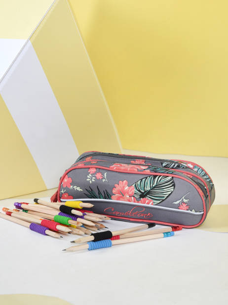 Pencil Case For Kids 2 Compartments Cameleon Gray actual TROU other view 1